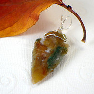 Arrowhead pendant green mottled wire wrapped in sterling silver