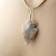 Arrowhead pendant silvery grey wire wrapped in sterling silver