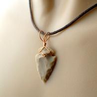 Arrowhead pendant beige wire wrapped in copper