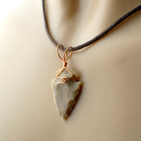 Arrowhead pendant beige wire wrapped in copper image 1 aloadofball Choice Image
