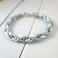 White grey and blue kumihimo braided bracelet 8 inch