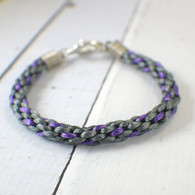 Charcoal and purple kumihimo braided bracelet 8 inch
