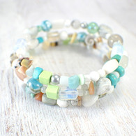 Breezy beach memory wire wide bracelet turquoise & lime large