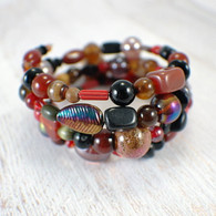 Fall forest memory wire wide bracelet brown red black large