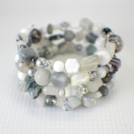 Riverstone memory wire wide bracelet black white grey sparkling