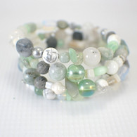Salty sea memory wire wide bracelet white grey light green