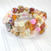 Rosy gold memory wire wide bracelet rose pink gold brown