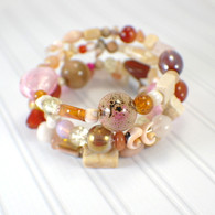 Pink amber memory wire wide bracelet rose pink amber brown