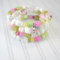 Cherry blossoms memory wire wide bracelet pink white lime light green