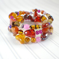 Red clover honey memory wire wide bracelet amber gold brown purple pink
