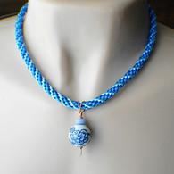 Blue porcelain china pendant necklace kumihimo copper