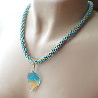 Sky blue gold silver glass leaf kumihimo braided necklace