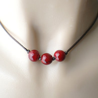 Dark red three bead brown satin cord necklace 16 inch or 18 inch