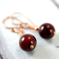 Dark red porcelain bead earrings copper dangle