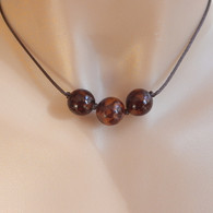 Tiger gold buri nut three bead brown satin cord necklace 16.5 inch