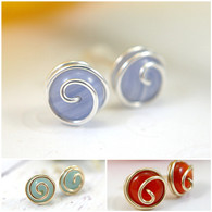 Wholesale Lot of 24 pairs rosebud spiral post earrings in 925 sterling silver and 14k gold filled