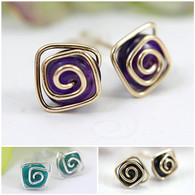 Wholesale Lot of 24 pairs squared spiral post earrings in 925 sterling silver and 14k gold filled