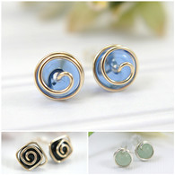 Wholesale Lot 36 pairs MIXED style post earrings in 925 sterling silver and 14k gold filled