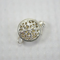 Filigree round box clasp sterling silver 9x12mm