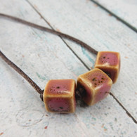3 brown rose pink tan cube bead necklace long 27 inch
