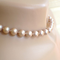 Powder almond Swarovki crystal pearl necklace graduated hand knotted 16.5 inch