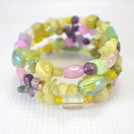 Memory wire summer cactus wide bracelet