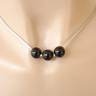 3 black bead necklace grey satin cord 15 inch 16 inch or 18 inch