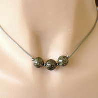 3 green bead necklace charcoal grey satin cord 15 inch 16 inch or 18 inch