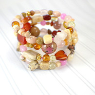Memory wire wide bracelet rosy gold