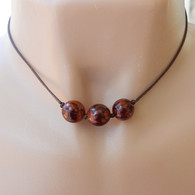 3 tiger gold buri palm nut brown bead necklace chocolate brown satin cord 16 inch