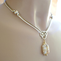 Ivory and taupe satin chinese knot pendant necklace