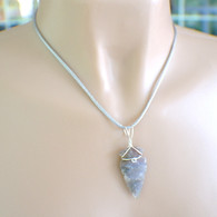 Grey jasper gemstone arrowhead pendant necklace satin cord
