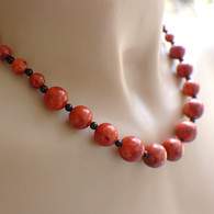 Red sponge coral blackstone necklace set with earrings