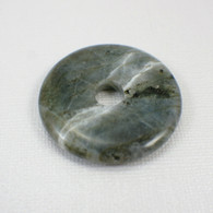 Labradorite 40mm gemstone donut charcoal grey opalescent