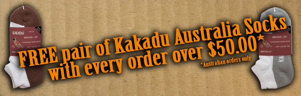 FREE pair of Kakadu Australia Socks with orders over $50.00