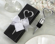 Wedding Favors - Kate Aspen Chrome Heart Bottle Stopper in Gift Box