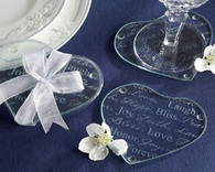 Wedding Favor Ideas and Wedding Party Favors  - Kate Aspen Good Wishes Heart Glass Coasters