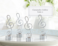 Wedding Favor Ideas - Kate Aspen Love Songs Silver Finish Music Note Place Card and Photo Holder. Place Card Holders to make your wedding day special.