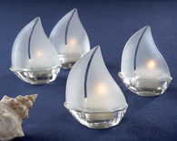 Wedding Favors Canada - Kate Aspen Set Sail Frosted Glass Sailboat Tealight Holders with palm wax tealight. Candle Wedding Favors to make your wedding day special.