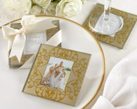 Cheap Wedding Favors - Kate Aspen Golden Brocade Elegant Glass Photo Coasters. Coaster Favors to make your wedding day special.