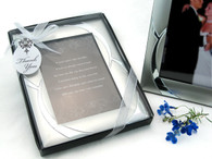 Wedding Favor Ideas - Artisano Designs Double Ring Romance Brushed Photo Frame Favor. Place Card Holders to make your day special.