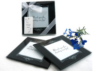 Wedding Party Favors - Artisano Designs Memories Forever Glass Photo Coasters in Black (Set of 2). Coaster Favors to make your day special.