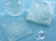 Wedding Party Favors - Artisano Designs Shimmering Snow Crystal Frosted Snowflake Glass Coasters (Set of 2). Coaster Favors to make your day special.