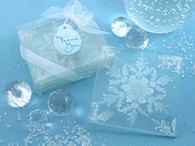 Wedding Favours - Artisano Designs Shimmering Snow Crystal Frosted Snowflake Glass Coasters (Set of 4). Coaster Favors to make your day special.