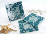 Cheap Wedding Favors - Artisano Designs Tropical Breeze Palm Tree Glass Coasters (Set of 2). Coaster Favors to make your day special.