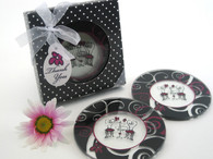Wedding Favours - Artisano Designs Bistro for Two Round Glass Coaster Favors in Designer Gift Box (Set of 2). Coaster Favors to make your day special.