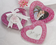 Wedding Favors Canada - Artisano Designs Pretty in Pink Heart Glass Photo Coasters (Set of 2). Coaster Favors to make your day special.