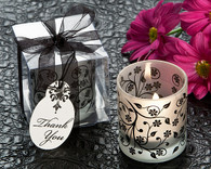 Wedding Favors - Artisano Designs Frosted Elegance Black and White Tea Light Candle Holder (Set of 4). Candle Wedding Favors to make your day special.