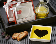 Unique Wedding Favors - Artisano Designs Love Infused Olive Oil and Balsamic Vinegar Dipping Plate. Candy/ Party Dish to make your day special.