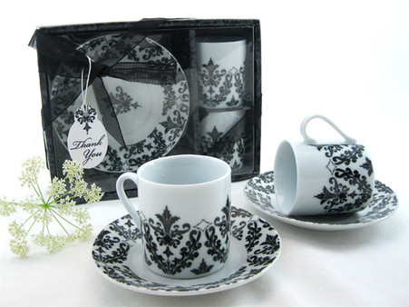 Unique Wedding Favors - Artisano Designs Dramatic Damask Espresso Cup Favor Set. Expresso Set to make your day special.